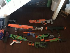 Nerf style guns collection with ammo pre owned for Sale in Orange, CA
