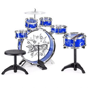 1-Piece Kids Starter Drum Set w/ Bass Drum, Tom Drums, Snare, Cymbal, Stool, Drumsticks - Blue for Sale in Henderson, NV