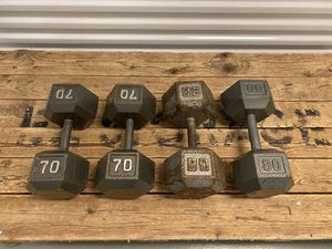 Set of 4 Dumbbells - 70lb & 80lb - Good Condition for Sale in North Wales, PA