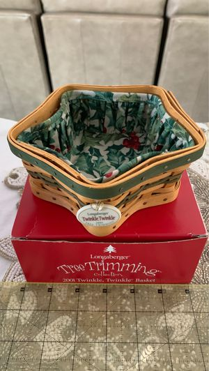 Longaberger 2001 Twinkle, Twinkle Basket, Liner and Tie-on for Sale in Spring Hill, IA