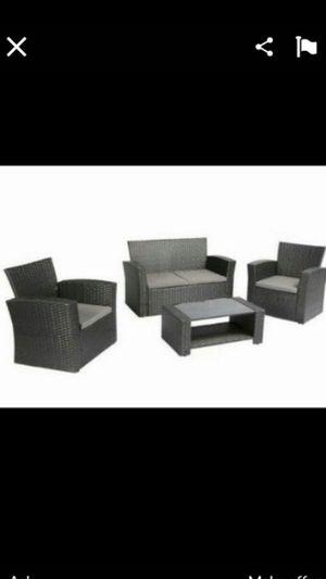 Black 4 piece outdoor patio furniture patio set for Sale in Moreno Valley, CA