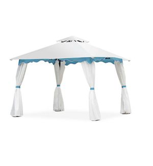 10 ft. x 10 ft. 2-Tier White Patio Gazebo Canopy Tent with Side Walls for Sale in Plano, TX