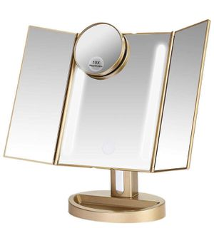 Makeup Mirror/Natural Daylight Lighted Vanity Mirror with Touch Screen Dimming, Detachable 10X Magnification Spot Mirror, Two Power Supply Mode (Gold) for Sale in Queens, NY