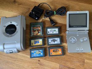 Game Boy Advance SP AGS-001, Charger, Six Games, Case for Sale in Portland, OR