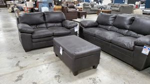 Polished fabric sofa, loveseat, and storage ottoman for Sale in Wichita, KS
