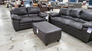 Polished fabric sofa, loveseat, and storage ottoman for Sale in Wichita, KS