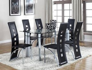 Echo Black/Silver Glass Dining Set for Sale in Houston, TX