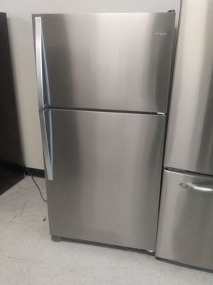 Whirlpool top and bottom stainless steel refrigerator used good condition 90days warranty for Sale in Mount Rainier, MD