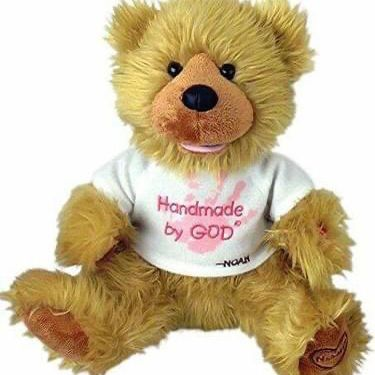 "Great Christmas Present-Chantilly Lane Noah ""Hand Made By God"" Bear 12"" With Pink Writing"