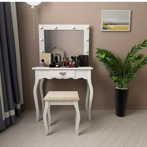 Led Lighted Vanity Table w/ Drawer & Mirror & Stool White for Sale in Frostproof, FL
