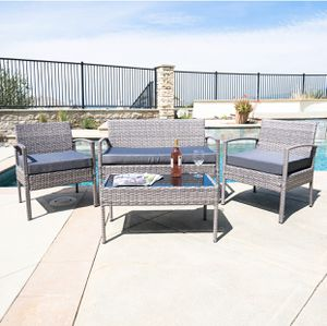 Brand New! 4 Piece Gray with Cushions Outdoor Balcony Patio Furniture Set for Sale in Orlando, FL