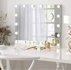 Vanity Tabletop Makeup Hollywood Mirror Dimmable Light Touch Control 18 Cold/Warm LED Lights, Detachable 3X Magnification Mirror for Sale in Whittier, CA