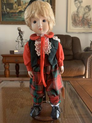 "14"" tall vintage Brinn`s Christmas collectible porcelain edition boy figure statue original tag attached for Sale in Hobe Sound, FL"
