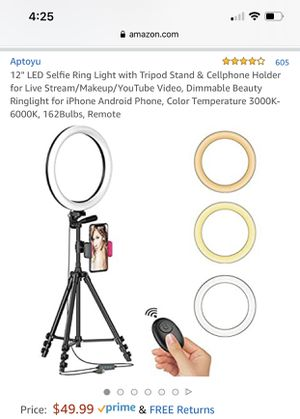 Selfie ring light with tripod stand for Sale in Sunnyvale, CA