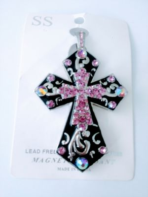 Stunning Magnetic Pink Rhinestone Cross with cord Necklace for Sale in Montrose, CO