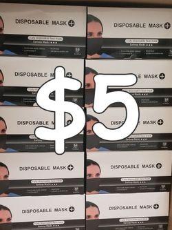 3 PLY DISPOSABLE FACE MASKS Color: BLACK/BLACK for Sale in Gardena,  CA