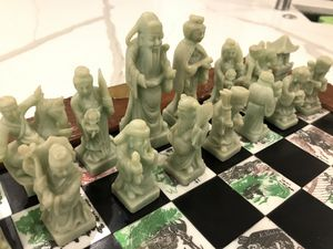 Chinese Asian Figure Chess Board Game Set Carved Dragon Wood Case Inlaid Tile. for Sale in Bethesda, MD