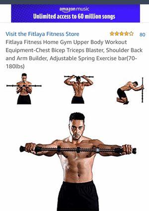 Fitlaya Fitness Home Gym Upper Body Workout Equipment-Chest Bicep Triceps Blaster, Shoulder Back and Arm Builder, Adjustable Spring Exercise bar(70-1 for Sale in NV, US