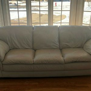 Leather Couch In Cream VERY Comfy for Sale in Darien, IL