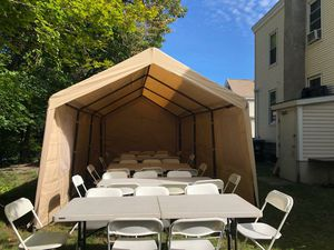 Folding chair. Table tent ((WE RENTED)) for Sale in Waltham, MA