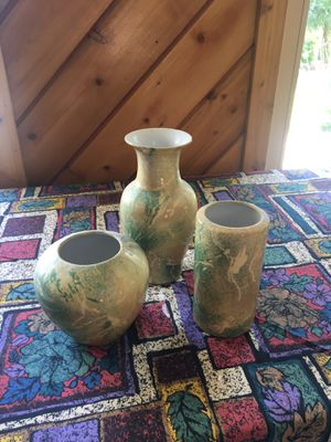 GREEN MARBLE VASES DECORATION (PACK OF 3) for Sale in Des Plaines, IL