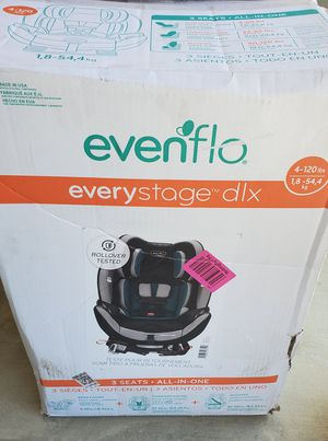 BRAND NEW Evenflo EveryStage DLX All-in-One Reclining Car Seat (Infant, Convertible & Booster). Retails for over $200 asking $150 for Sale in Visalia, CA