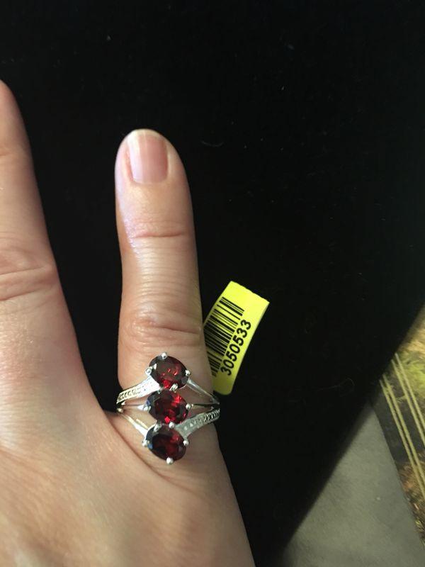 Genuine garnet sterling silver ring sz 5