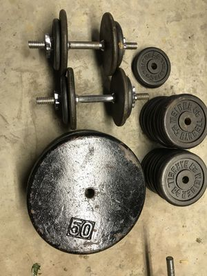 Weight plates ( standard hole ) .75 cents a pound I have 8-50 lb plates , 2-25 lb plates , 20-10 lb plates for Sale in Romeoville, IL
