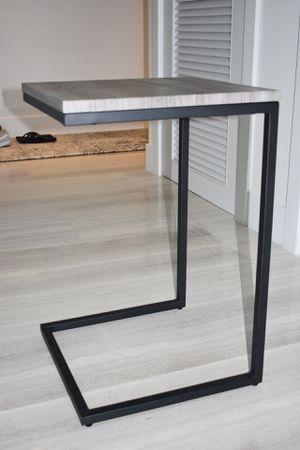 Side End Table - Black with grey tone wood top. for Sale in Miami, FL