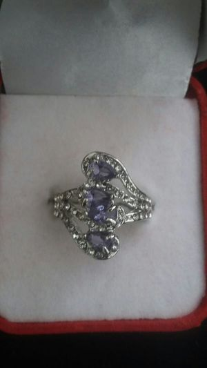 Ladies fashion 925 silver natural sapphire gemstone ring princess wedding band size 9 for Sale in Moreno Valley, CA