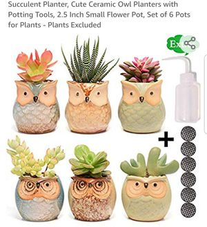 Cute Ceramic Owl Planters with Potting Tools for Sale in Scottsdale, AZ