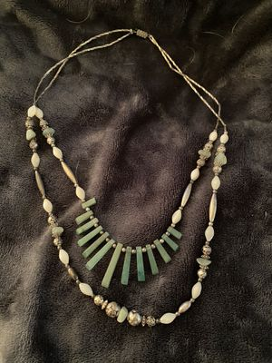 Mexican silver beaded/white stones/jade stones necklace from Mexico for Sale in Fresno, CA