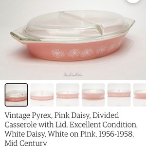 Retro, Vintage, Mid Century Pink Daisy Pyrex Casserole Dish for Sale in Redmond, OR