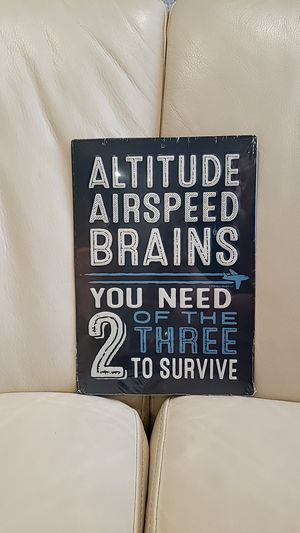 Brand new funny metal embossed wall decoration sign. Great for pilot, airplane aviation jet enthusiast or airforce for Sale in Ontario, CA