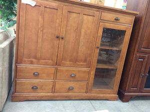 Tan Wood Entertainment Center for Sale in Milwaukee, WI