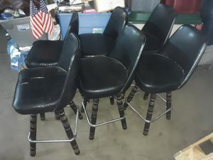 6 black leather barstools vintage for Sale in Allentown, PA