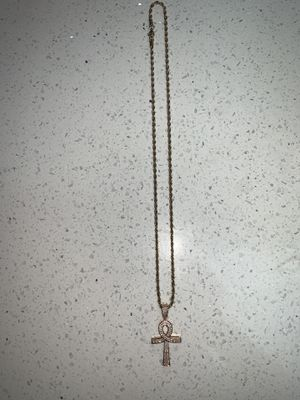 18k gold plated. CZ diamonds on cross. 24inch rope chain for Sale in Santa Clara, CA