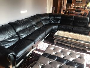 Big Black Real Leather Sectional for Sale in Lombard, IL