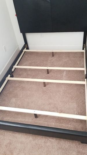 Black leather bed frame for Sale in San Jose, CA