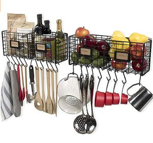 Wall35 Amalfi Black Kitchen Storage Wire Wall Mount Rack 2 pk. w/ 20 hooks New! for Sale in Ridgecrest, CA