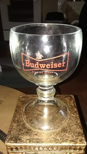 VINTAGE RARE BUDWIEISER THICK STEM GOBLET 7IN TALL for Sale in undefined