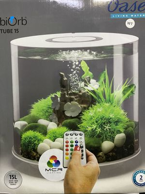 Oase BiOrb Tube15 w/MCR LED Lighting, Brand New Acrylic Aquarium with air pump, water conditioner, and filter cartridge. Great Holiday Present for Sale in Garden Grove, CA