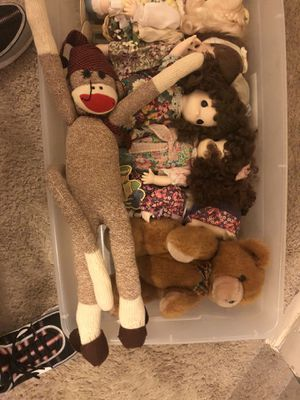 Precious moment dolls with stands and bear and sock monkey for Sale in Raleigh, NC
