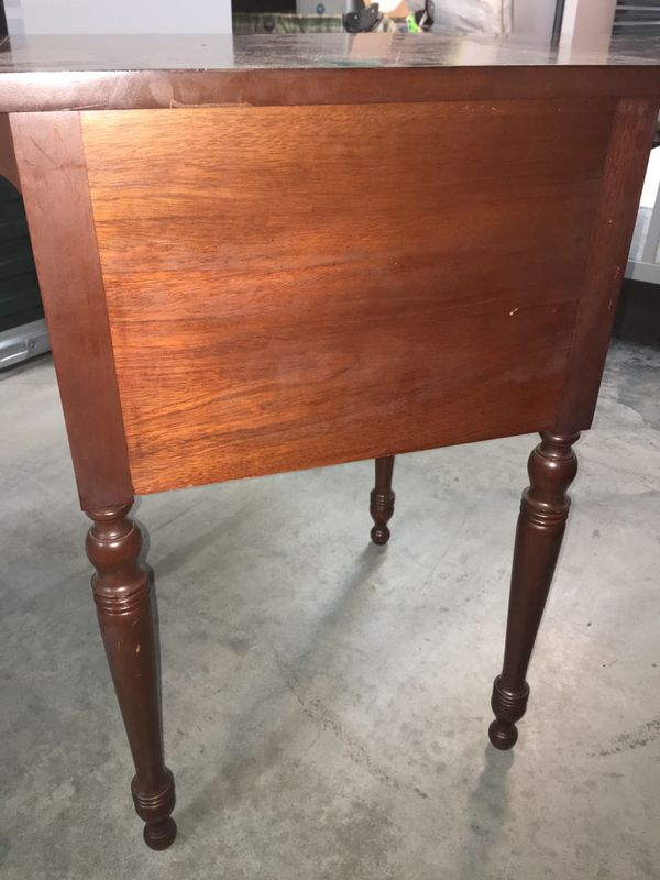 Cherry Wood- 2 Drawer Folding Leaf Authentic Wood Accent Table/ Side Table