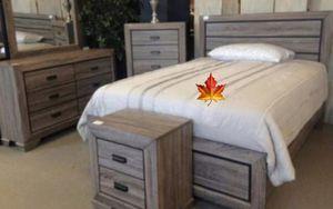 .. Farrow Grayish Brown Panel Bedroom Set. 4pc queen..Dresser Mirror Nightstand bed for Sale in Houston, TX
