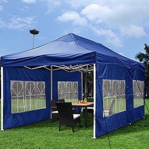 (NEW) $210 Heavy-Duty 10x20 Ft Outdoor Ez Pop Up Party Tent Patio Canopy w/Bag & 6 Sidewalls, Blue for Sale in El Monte, CA