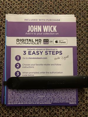 John wick 4K digital movie code for Sale in Long Beach, CA