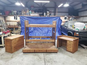 Solid oak bunk bed or 2 Single bed, trundle bedroom set for Sale in Washougal, WA