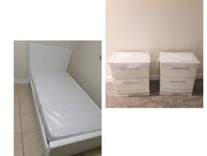 New white Or black twin platform bed frame. Mattress. Two nightstands. Delivery for Sale in Deerfield Beach, FL