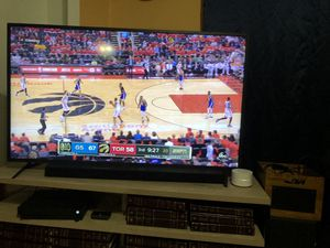 "55"" 4K TV w/ Samsung Sound Bar and Stand for Sale in San Antonio, TX"